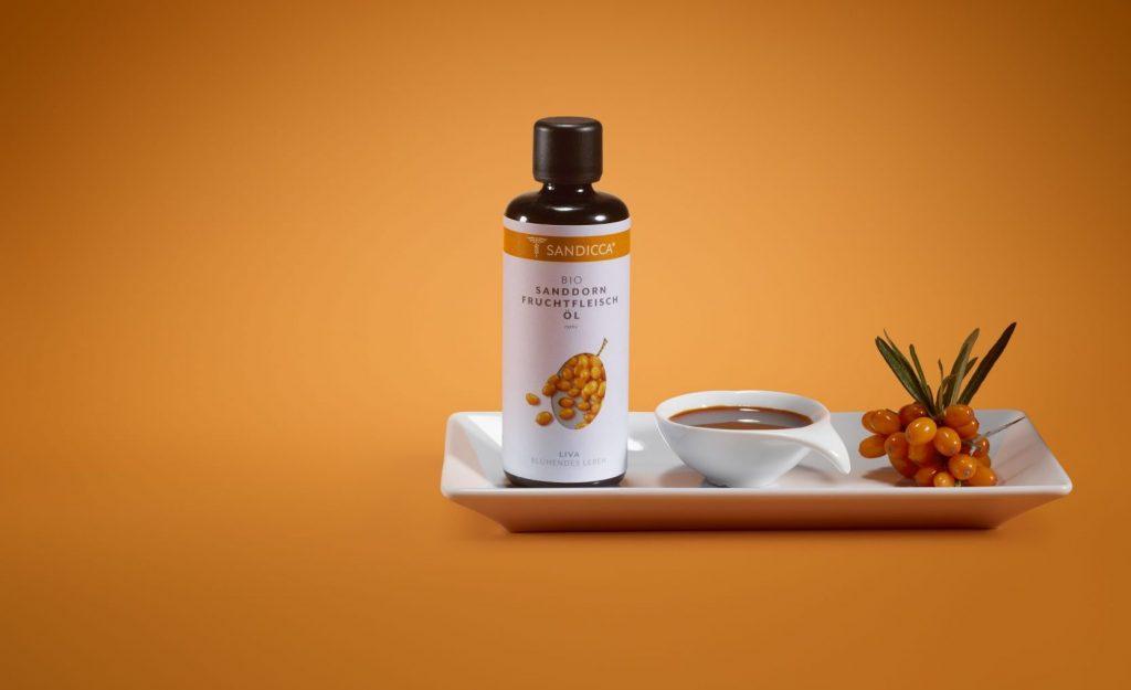 Bio Sanddorn Fruchtfleischöl aus Österreich, Provitamin A, Vitamin E, Vitamin B12, 100% vegan, kaltgepresst und nativ. Bestens geeignet für Bio Aromapflege