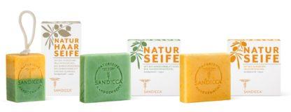 SANDICCA Naturseifen-Komposition mit Bio-Sanddornfruchtfleischöl, Bio-Sanddornkernöl und Bio-Sanddornblatt